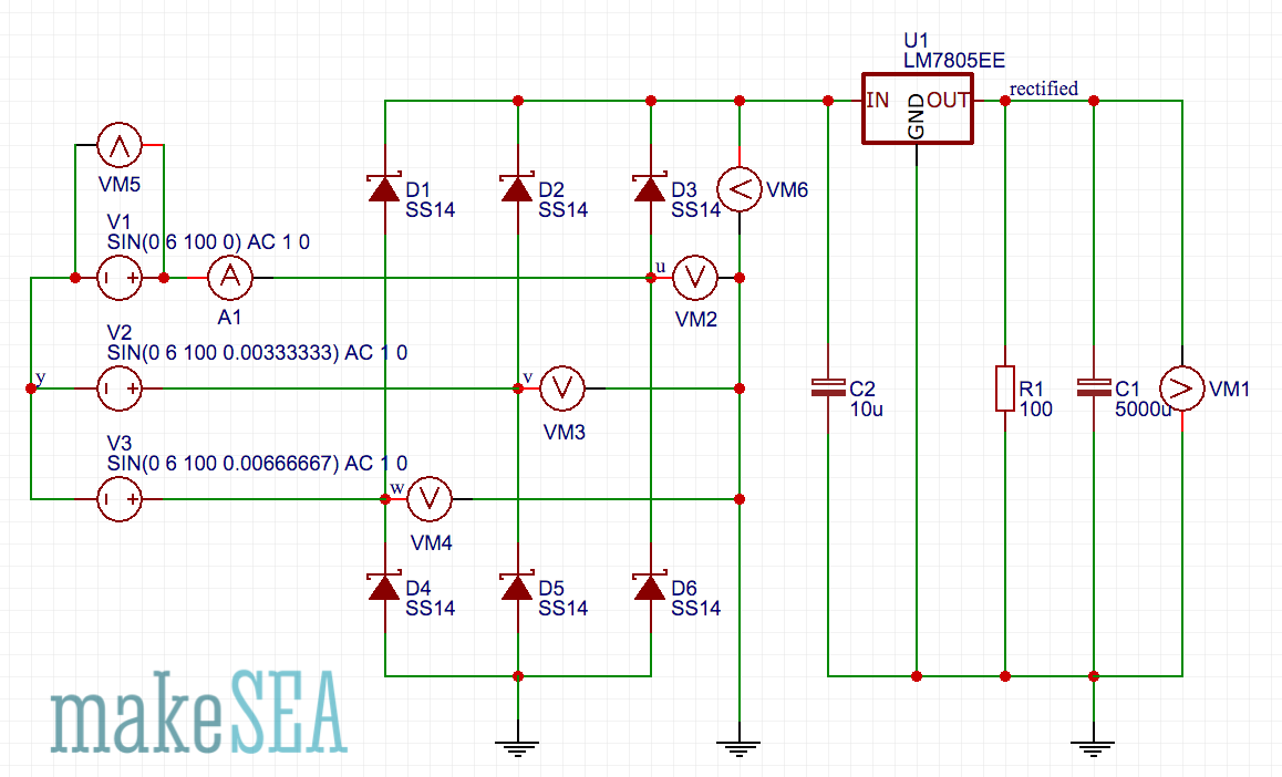 Windpowerwriter Makesea Circuits Charging A 500 F Capacitor It Charges Up Circuit Simulation Using 6 Diodes And In Order To Transform Ac Dc The Voltage Regulator Limits Of Big Super C1